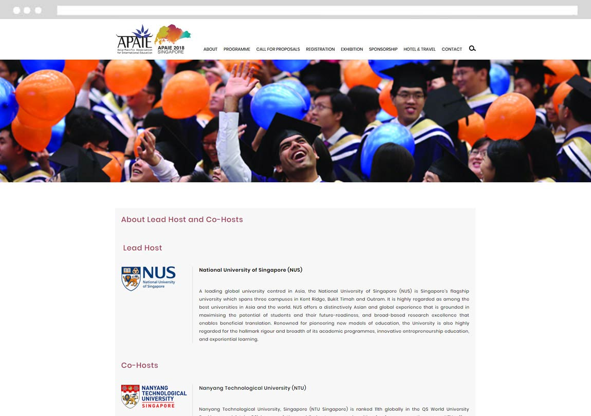 Website for events, website for singapore event, event website development