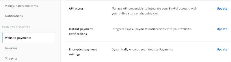 generate paypal api access website payments